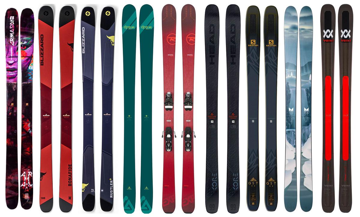 SOLID TEST: Hvilke er best av disse allsidige skiene? Fra venstre: Armada ARV 96, Blizzard Rustler 9, Blizzard Bonafide, DPS Cassiar A94, Rossignol Experience 94 TI, Head Kore 99, Salomon QST 99, Salomon QST 99 og Völkl M5 Mantra.