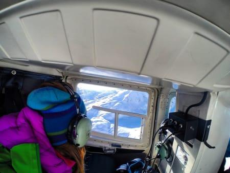 Fra helikopterturen inn til hytta