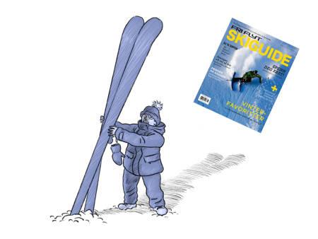 SKIGUIDEN ER UTE: …og vi innser at det ikke er tvil: menneske og ski er komplekse greier. Særlig hvis du drar inn miljø også. Illustrasjon: Didrik Magnus-Andresen