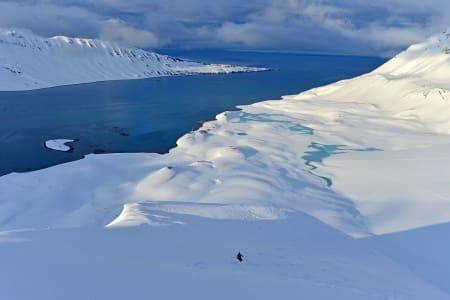 TOPP TOPPTUR: Kjøring i strålende snø fra toppen av Knuvlen. Svenskegga på venstre side av fjorden, og campen sees i vannkanten nedenfor Knuvlen. Foto: Ståle Schumacher