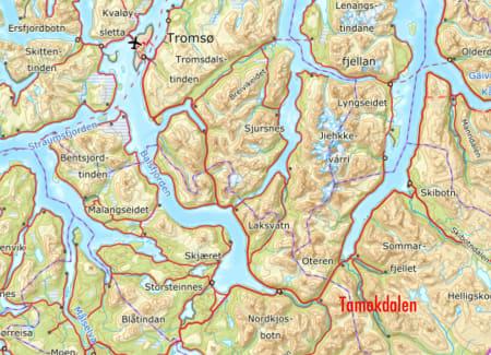 FIRE SAVNET PÅ BLÅBÆRFJELLET: Torsdag morgen er fortsatt fire personer savnet etter snøskred på Blåbærfjellet i Tamokdalen i Troms, sørøst for Tromsø.