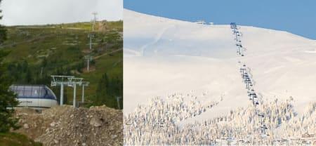 NY HEIS: Bildet til venstre viser Trysils nye heis slik den ser ut i dag, og illustrasjonen til høyre viser hvordan herligheten skal se ut i vinter. Foto: jan Linstad/ Skistar