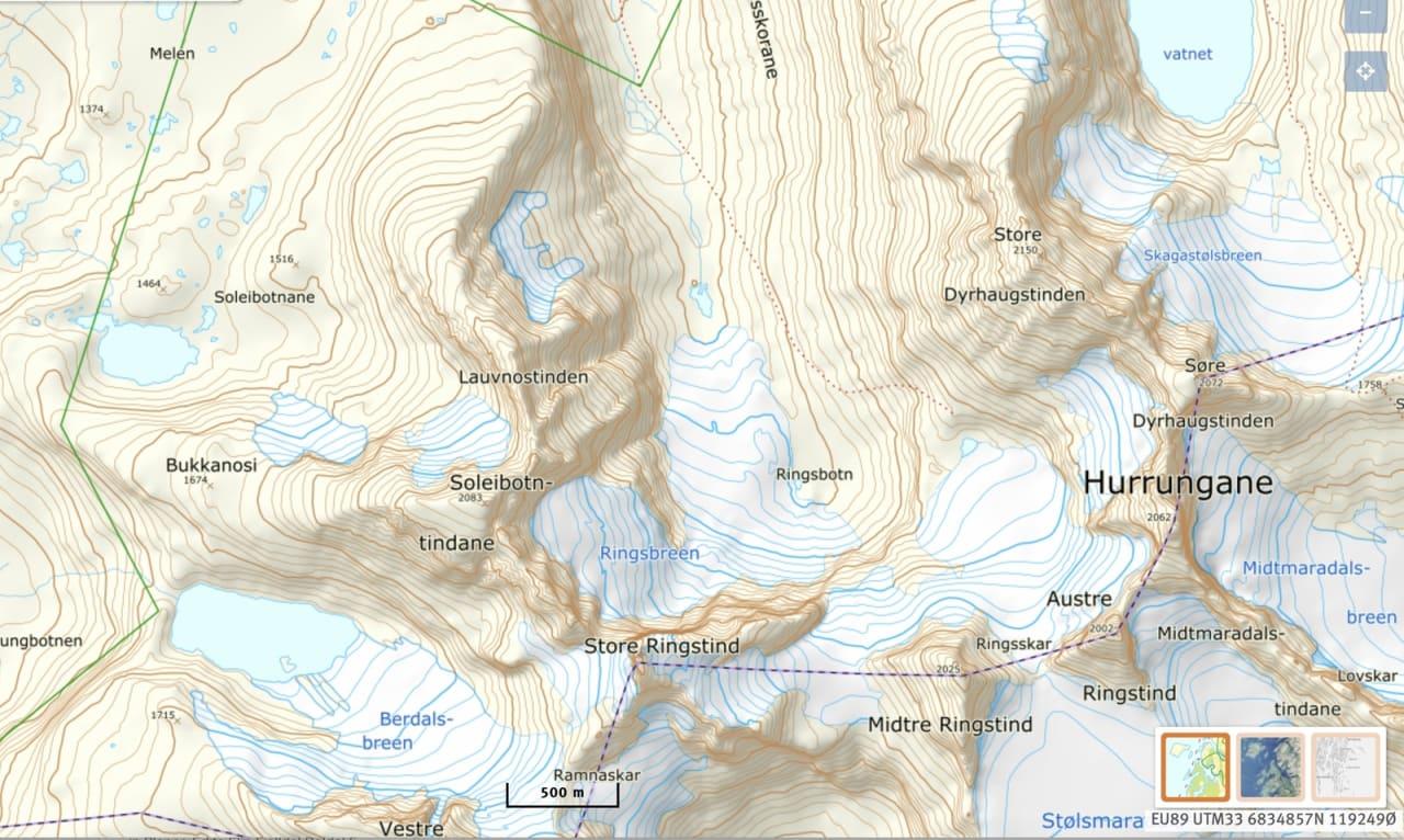 BRATTKJØRINGSSENTRUM: Området med Soleiebotntindane og Lauvnostindet er populært for bratt skikjøring.