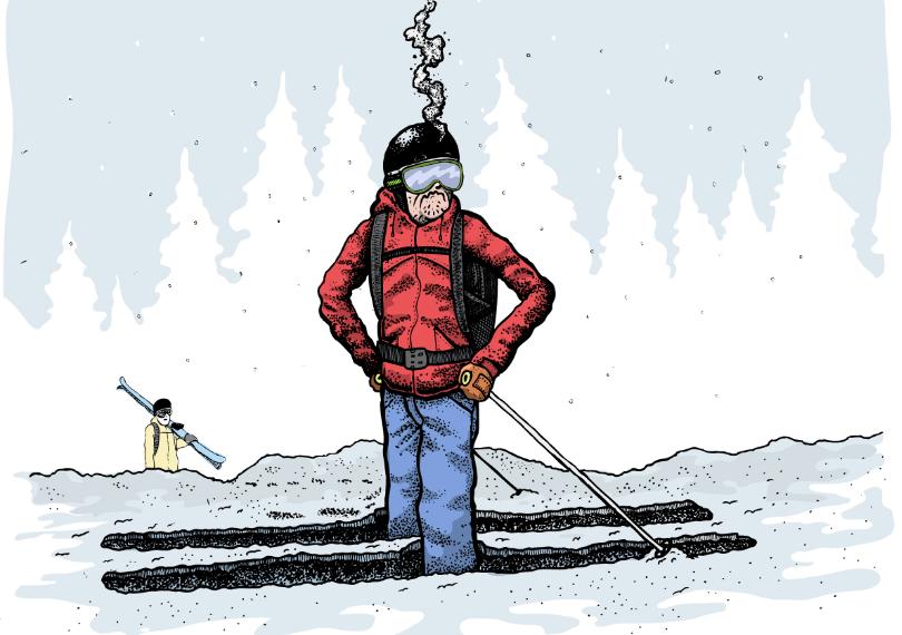 GJENNOMRÅTTEN: Snøen. Og sjelen til fyren på bildet, akkurat i dette øyeblikket. Illustrasjon: Danny Larsen