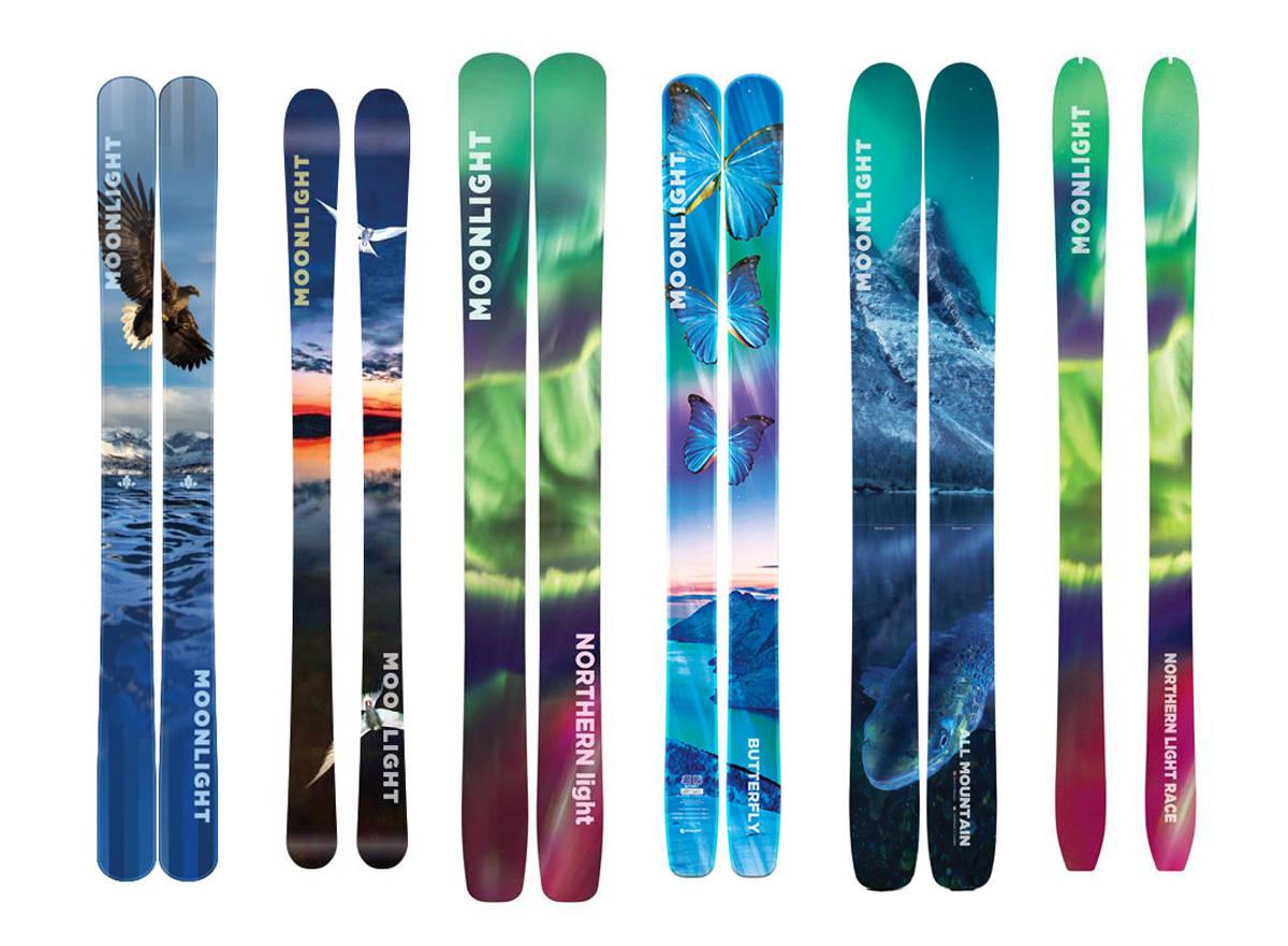 REKORDLETT: Moonlight Skis kolleksjon for neste sesong byr på noen av de letteste skikonstruksjonene noensinne. Fra venstre: Eagle, Terne, Northern Light, Butterfly, All Mountain og Northern Light Race.