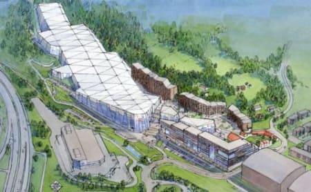 PLANEN: Slik skal skihallen se ut når den står ferdig –etter planen i 2018. Illustrasjon: Lørenskog vinterpark/ Selvaag Gruppen
