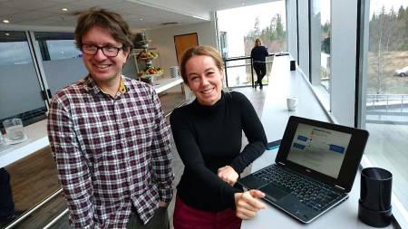 VARSLERE: Fri Flyt møtte Jostein Aasen og Solveig Kosberg under NVE sin samling for skredvarslere og observatører på Gardermoen sist uke. Foto: Erlend Sande