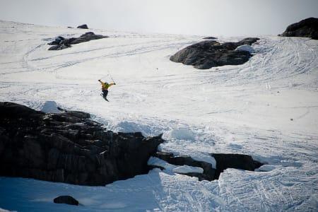 HØYT: Espen Sollien gikk høyt under Fri Flyt Freeline Jam i 2014. Foto: Vegard Breie