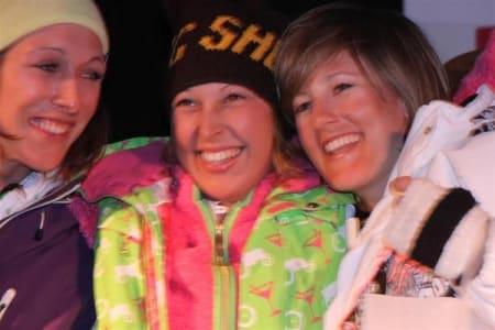 Ski damer, f.v. Widmesser, Ericsson, Gleditsch.