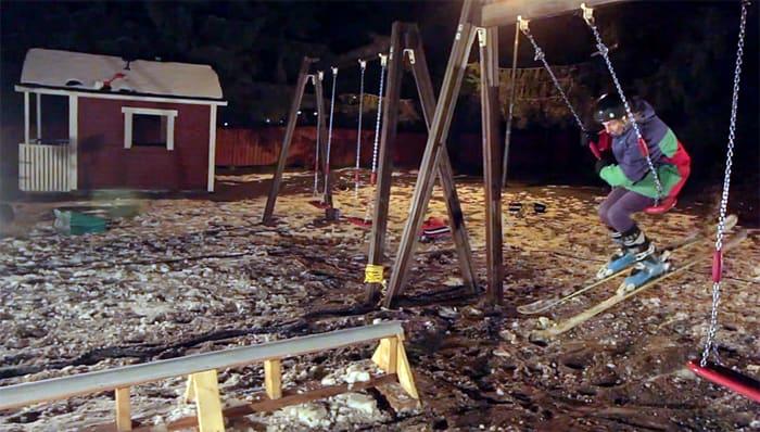 LEKEPLASS: Finner har en tendens til å vinne kampen om kreativ bruk av ski og urbane elementer.
