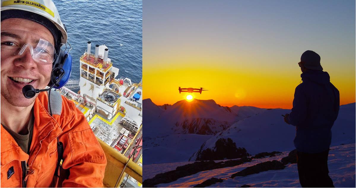 SOMMER MED MARTIN: Martin Leite Gilleshammer jobber i Barentshavet om sommeren (til venstre) og innimellom øver han seg på å fly den nye drona si (til høyre).