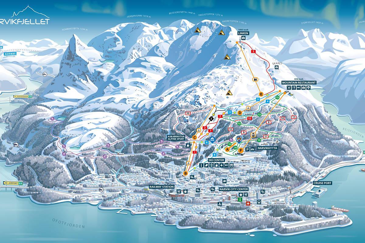 Løypekart over Narvikfjellet skisenter fri flyt guide ski freeride