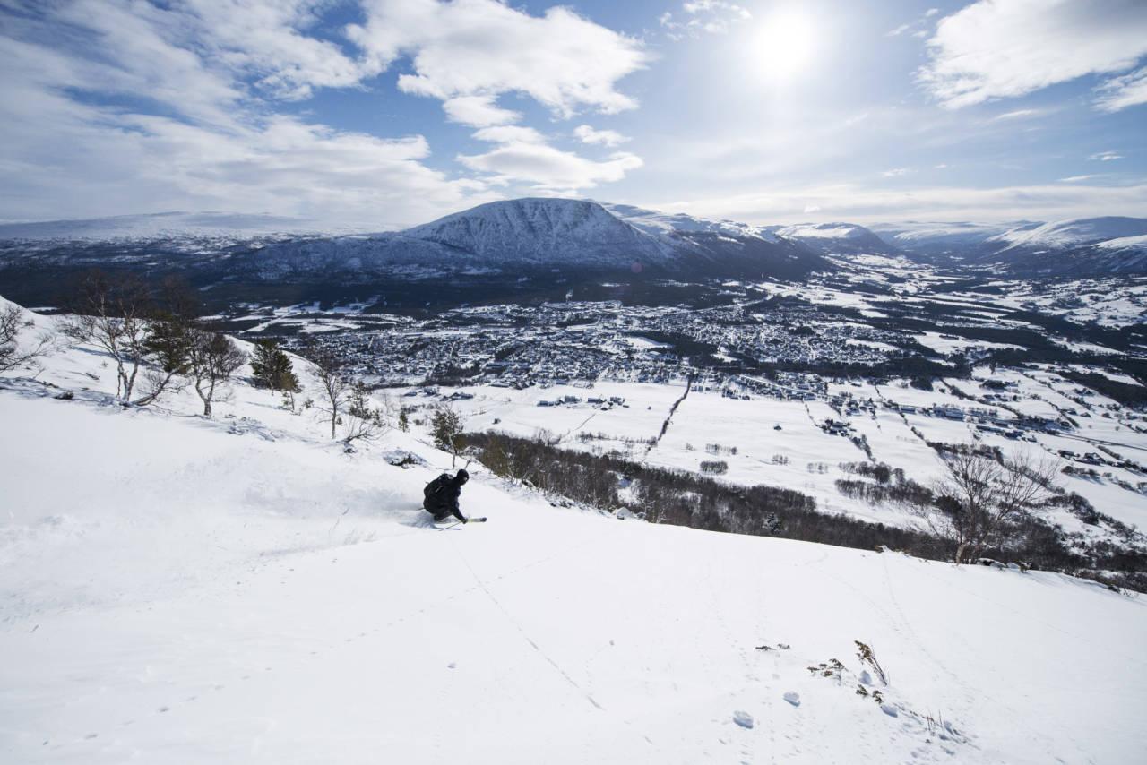POPULÆR SKOG: Vestsida i Hovden har ypperlig skogskjøring når snøforholdene er gode. Oppdalingen Sveinung Jacobsen er tidlig ute og får førstespor i de populære offpistområdet. Foto: Martin Innerdal Dalen.