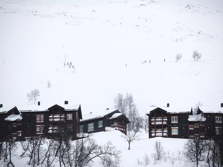 SNØSKRED: Ett av de tre snøskredene gikk like ved Vågslidheisen, bak bygningene på bildet. Her er leteaksjonen i full gang, men det viste seg etter hvert at ingen var tatt i skredet. Foto: Knut Ivar Skogland