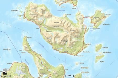 GRØYTØYA: Grytøya er et populært område for skiturer en kort fergetur fra Harstad.