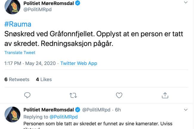 Mann i 40-årene tatt av snøskred på Gråfonnfjellet i Rauma