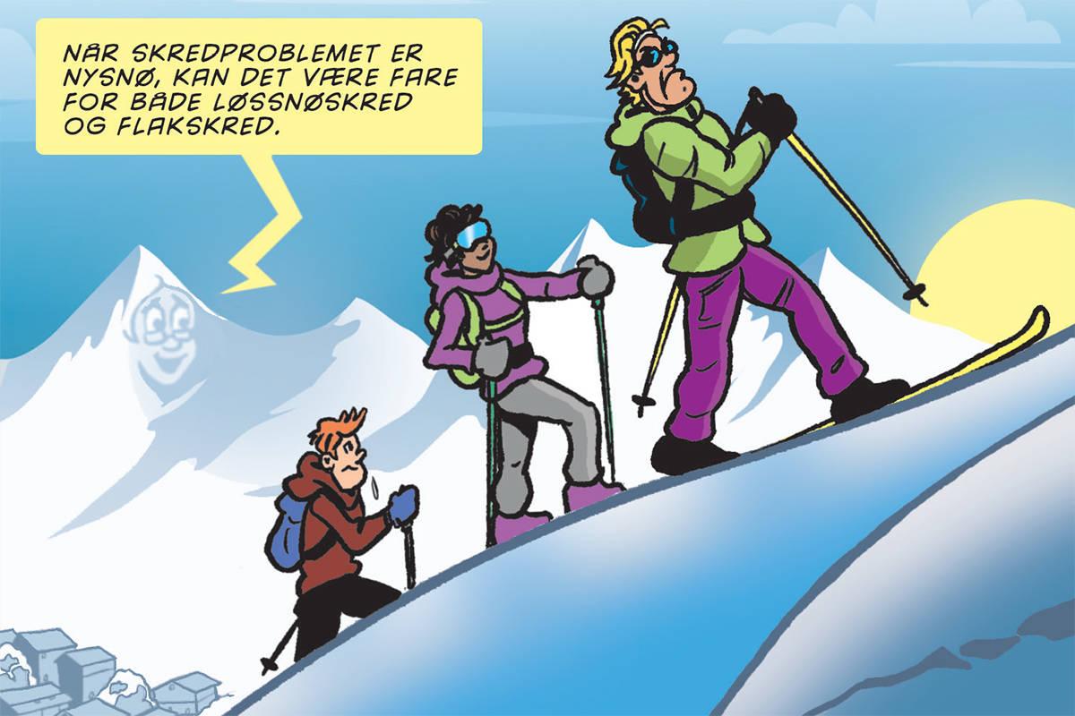 SKREDLÆRING: Med tegneserier laget av Ivan Emberland skal folk nå lære mer om trygg ferdsel i fjellet. Foto: Ivan Emberland