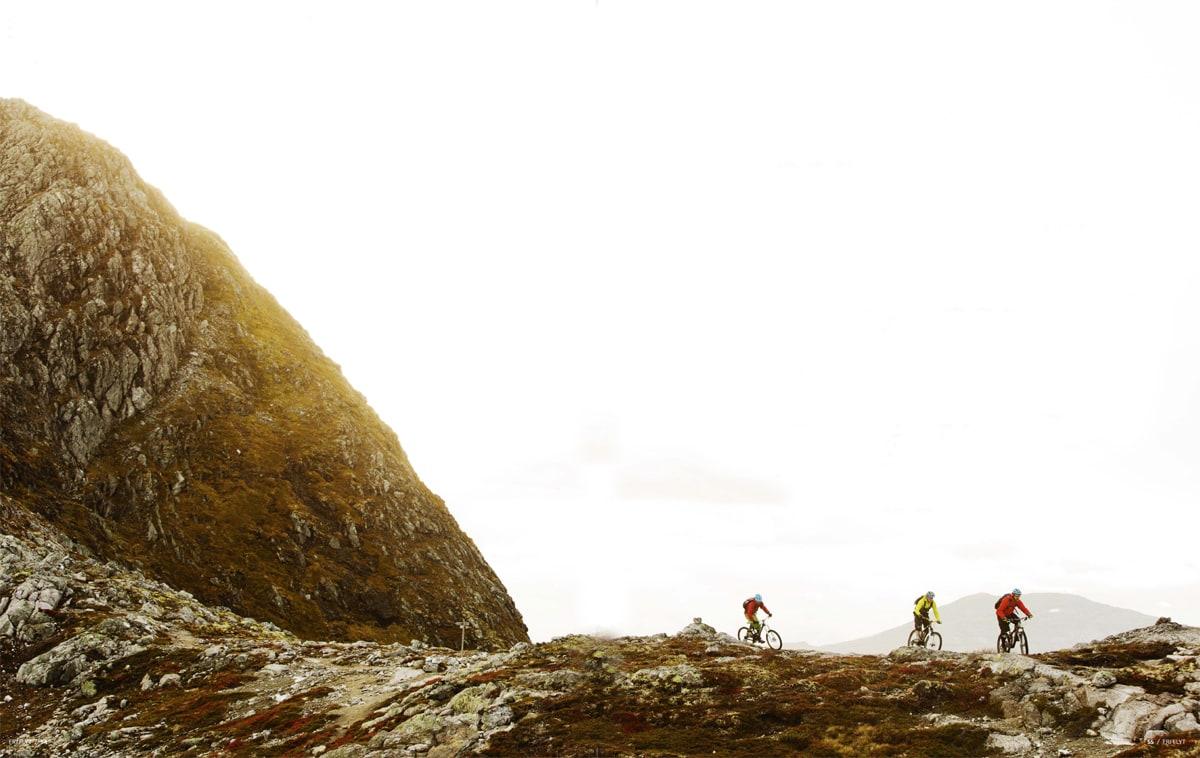 STOR HAUG: Turen ned fra  Storhaugen like ved Sogndal sentrum gir deg høyfjell, skogsstier og utsikt. Knut Myking drar med seg Stig Wigum og Jørgen Dølvik Husbyn ned mot tregrensa.
