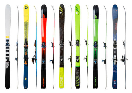 SKITEST: Vi har testet 7 lette toppturski. Fra venstre: Black Diamond Helio Recon 88, Blizzard Zero G 85, Hagan Core 89, Movement Session 89, Movement Vertex 84, Hagan Core 84 og Dynastar Vertical Pro.
