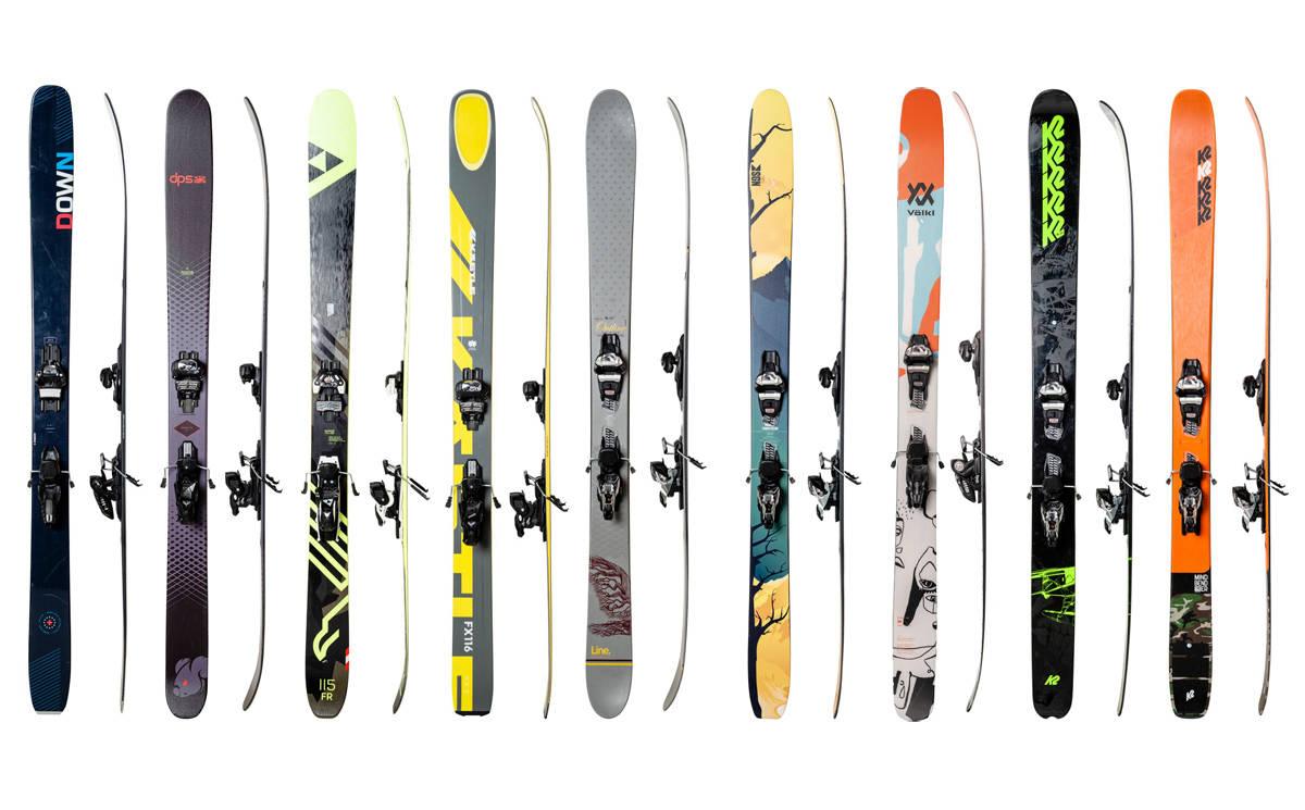 SKITEST AV PUDDERSKI: Vi har testet følgende ski (fra venstre): Down Countdown 114 LTD, DPS Koala, Fischer Ranger 115 FR, Kästle FX 116, Line Outline, SGN Tunnelvisjon, Völkl Revolt 121, K2 Pontoon og K2 Mindbender 116c.