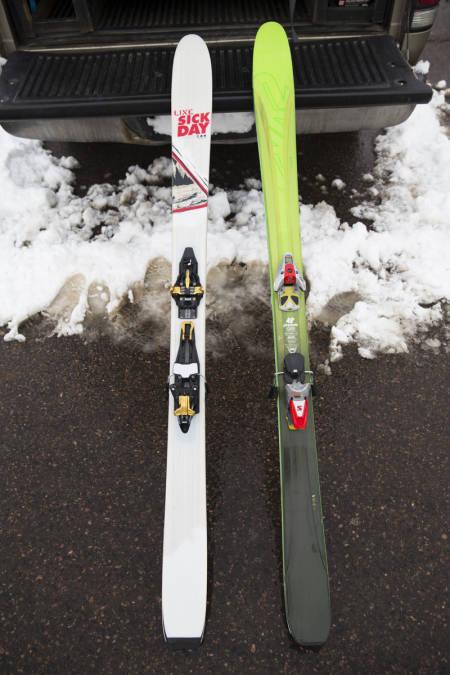 I FULL LENGDE: Her ser du skiene i all sin prakt. Legg merke til årgangsbinding til høyre. Foto: Hans Petter Hval