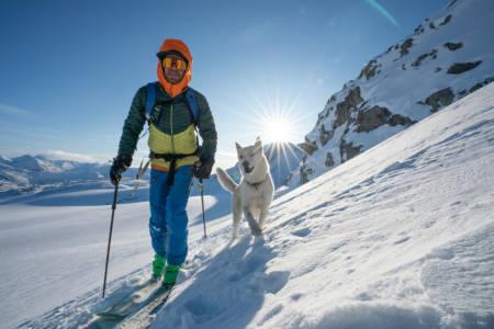 PÅ VEI OPP: Martin Andersen og hunden Sjogg på vei opp Steindalsnosi tirsdag denne uken. Foto: Martin Andersen