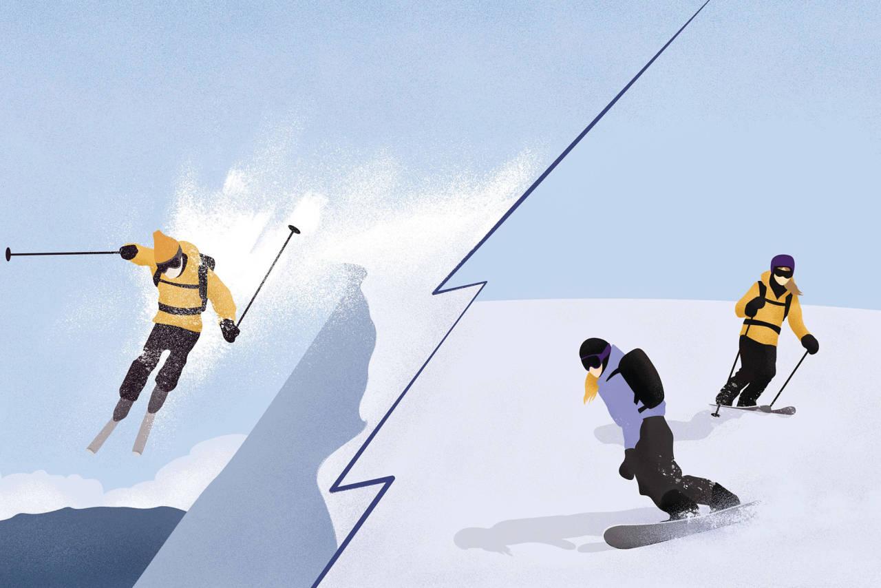 TESTOSTERON-BESTEMT: Ni av ti ski- eller snowboardkjørere som omkommer i snøskred i Norge er menn. Illustrasjon: Anne Vollaug