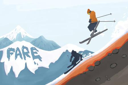 LITE SNØ: Det ligger ingen trygghet i at snødekket er tynt. Nesten halvparten av ski- og snowboard-dødsfallene i snøskred de siste årene har skjedd når snødekket beskrives som tynnere enn normalt. Illustrasjon: Anne Vollaug