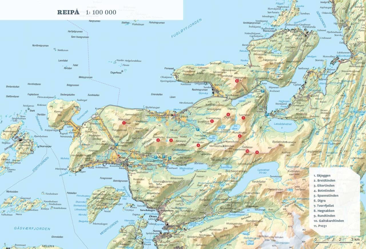 Oversiktskart over Reipå. Fra Toppturer rundt Bodø.