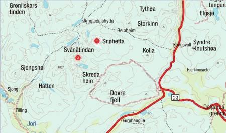 Kart for Dovrefjell