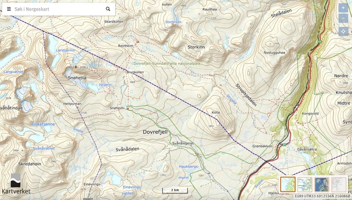 Kart for Snøhetta på Dovrefjell