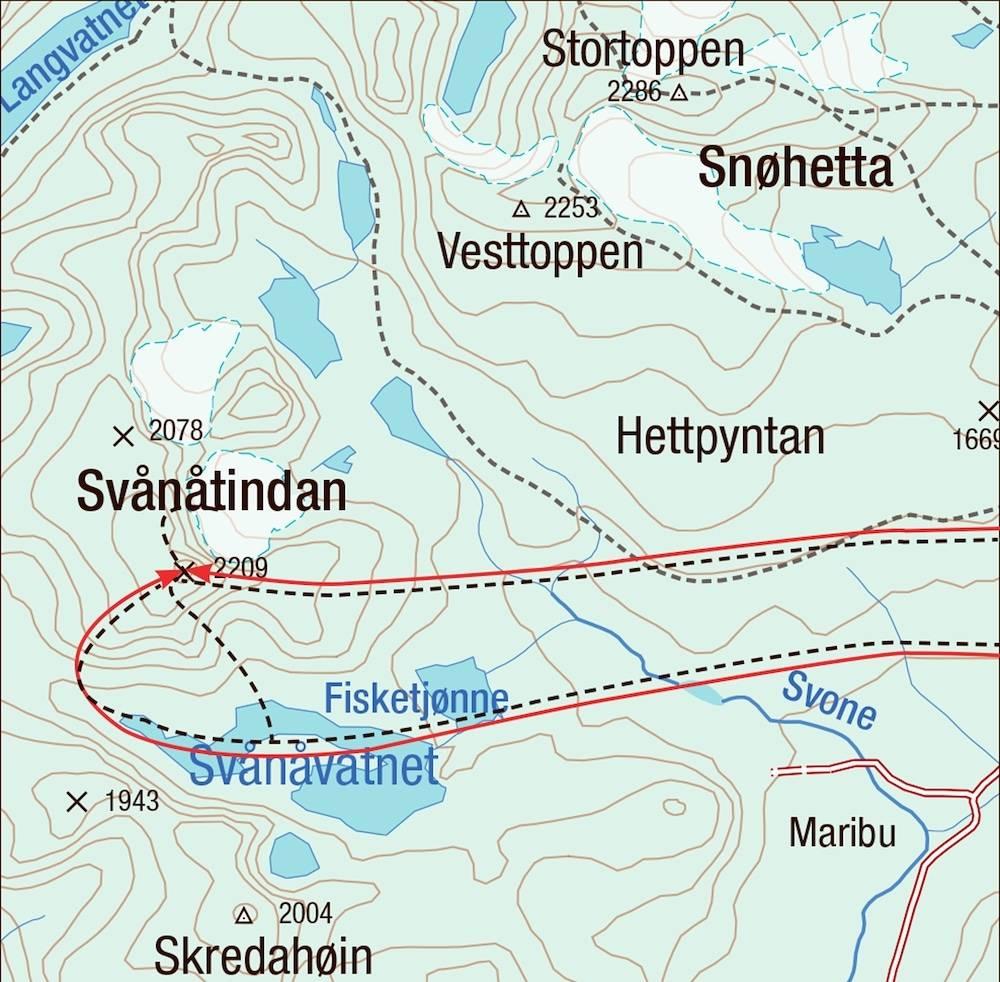Kart for Svånåtindane på Dovrefjell
