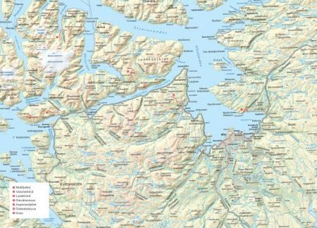 Oversiktskart over Finnmark. Fra Trygge toppturer.