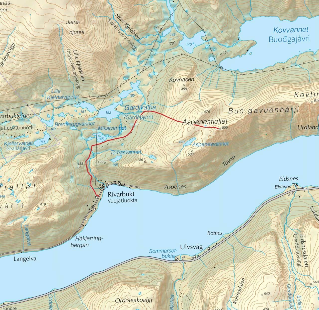 Kart over Aspnesfjellet med inntegnet rute. Fra Trygge toppturer.