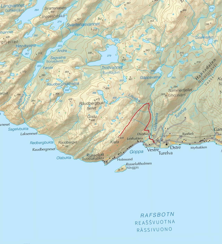 Kart over Kista med inntegnet rute. Fra Trygge toppturer.