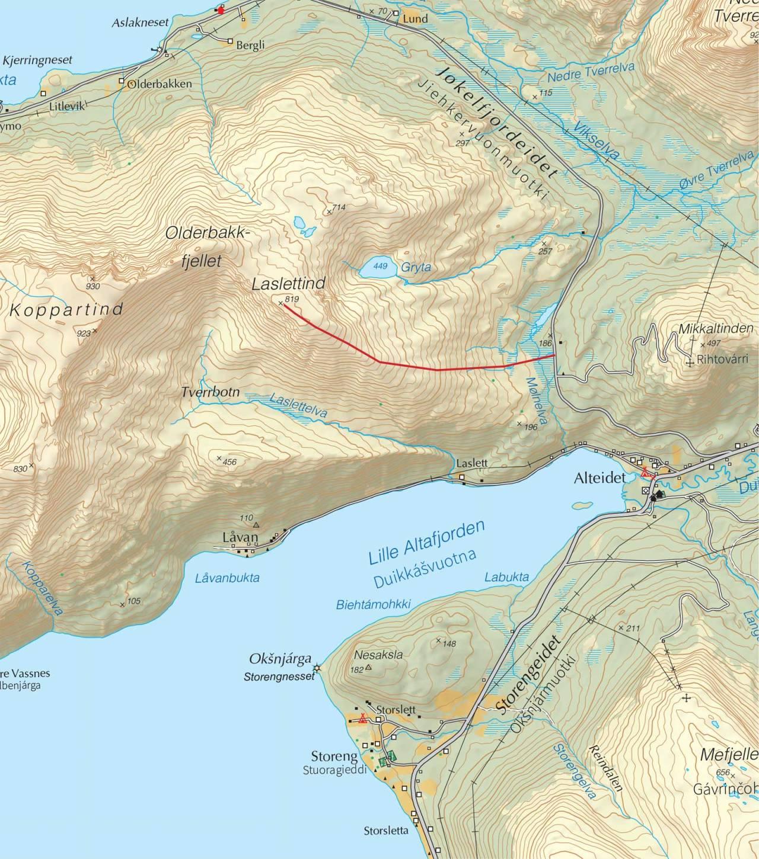 Kart over Laslettind med inntegnet rute. Fra Trygge toppturer.
