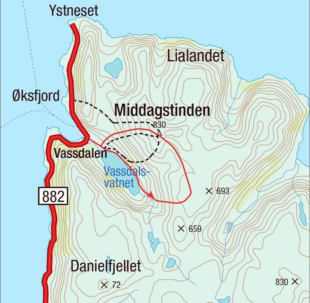 Kart for Middagstinden i Finnmark