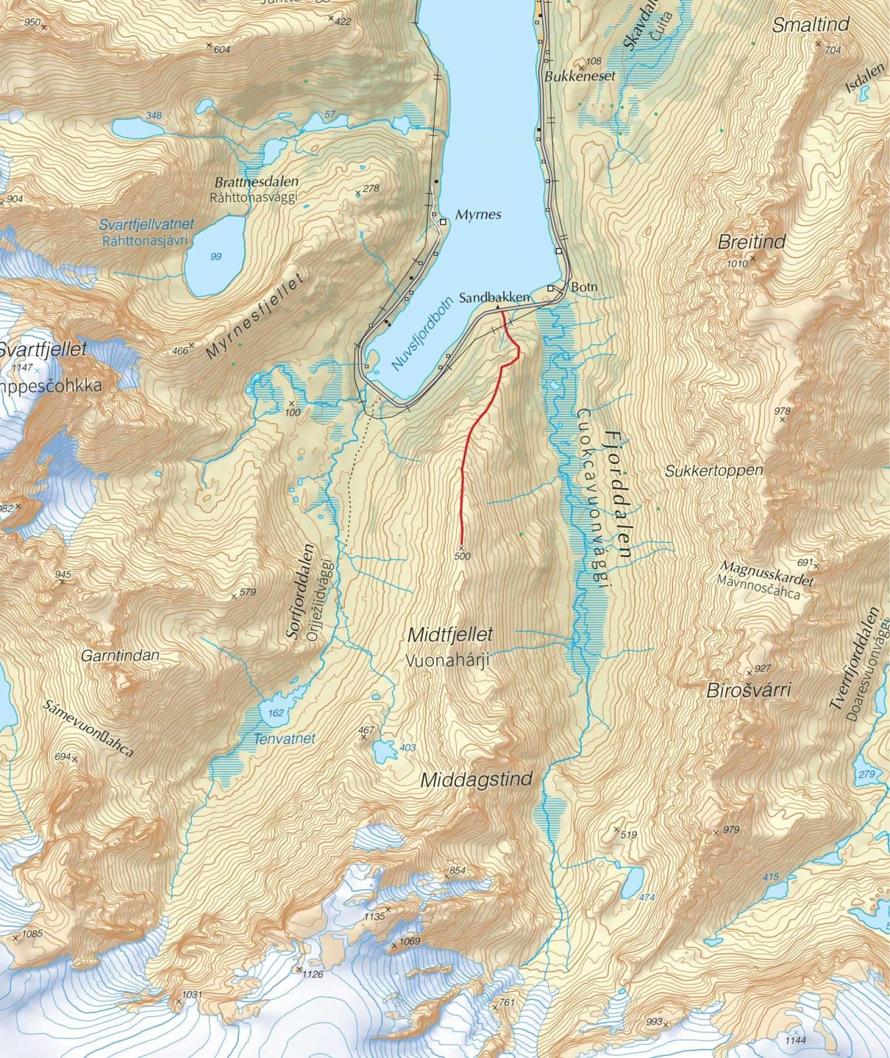 Kart over Midtfjellet med inntegnet rute. Fra Trygge toppturer.