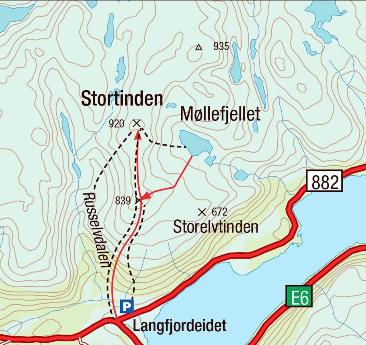 Kart for Stortinden i Finnmark