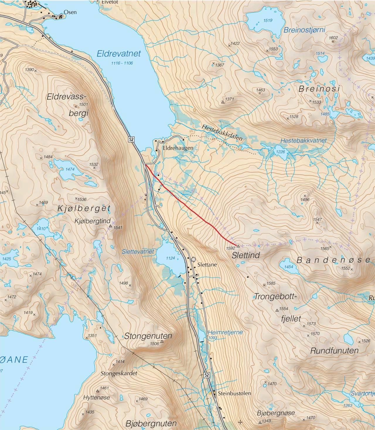 Kart over Slettind med inntegnet rute. Fra Trygge toppturer