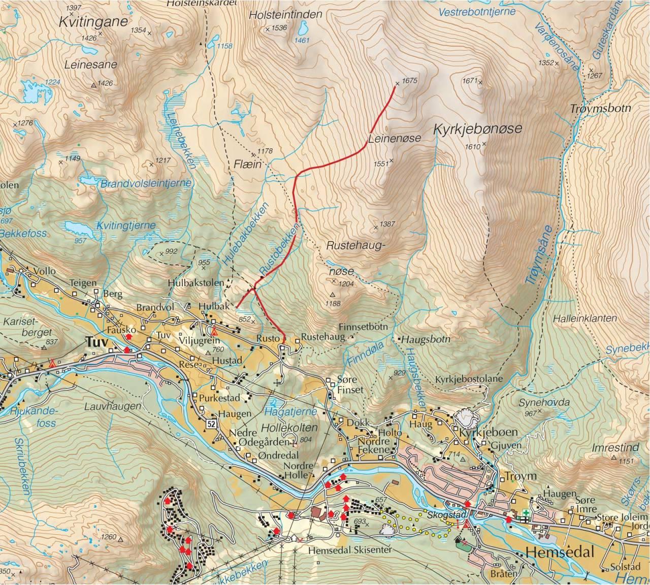 Kart over Leinenøse med inntegnet rute. Fra Trygge toppturer
