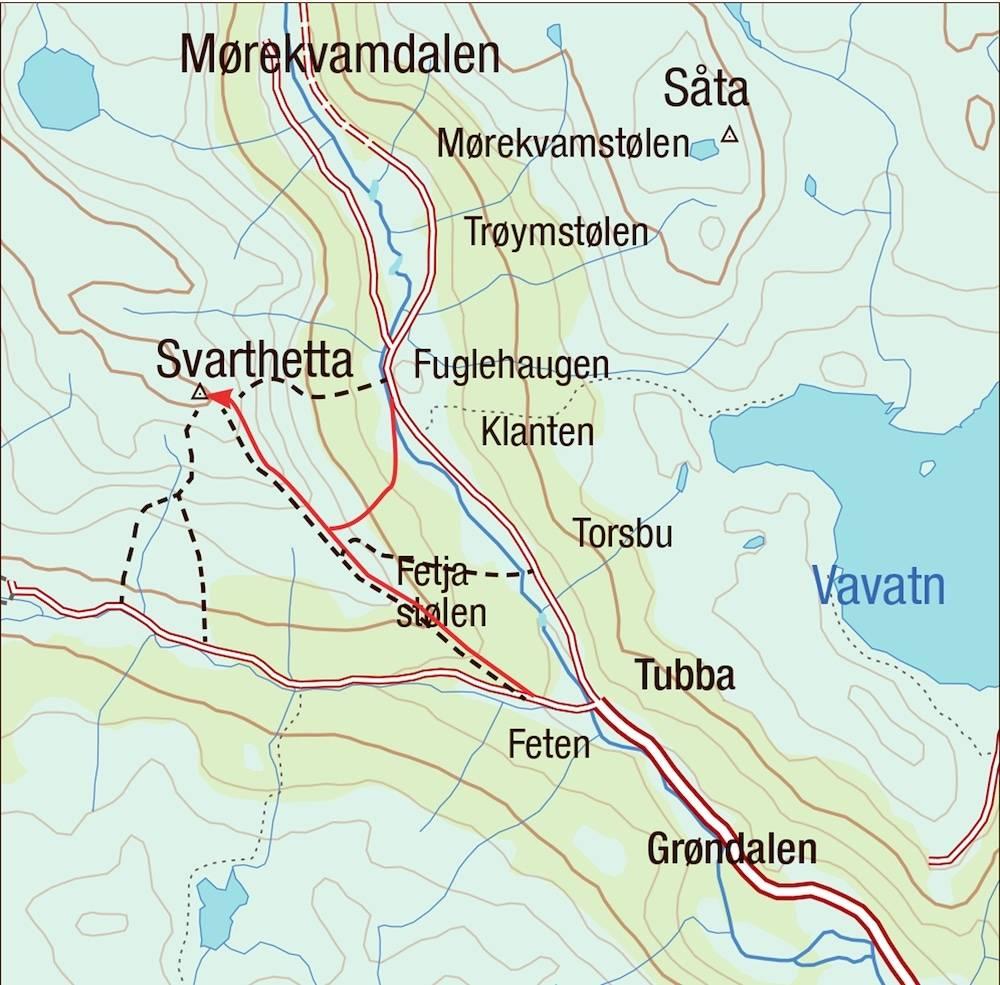 Kart for Svarthetta i Hemsedal