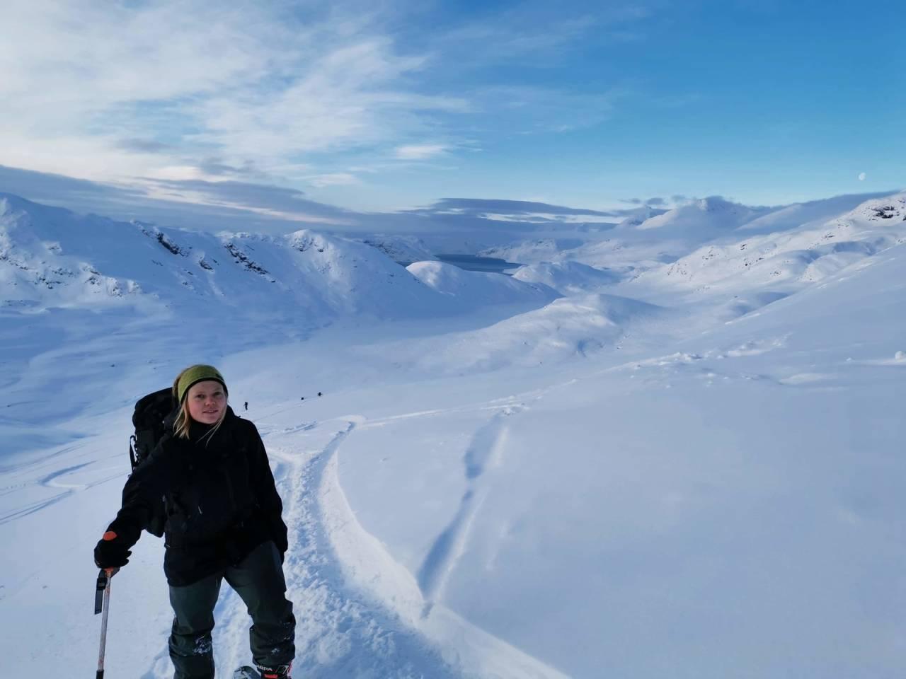 Lisa Kvålshaugen Bjærum var på tur i området rundt Bygdin. Det var omlag 200 andre også. Foto: Siri Gjendemsjø