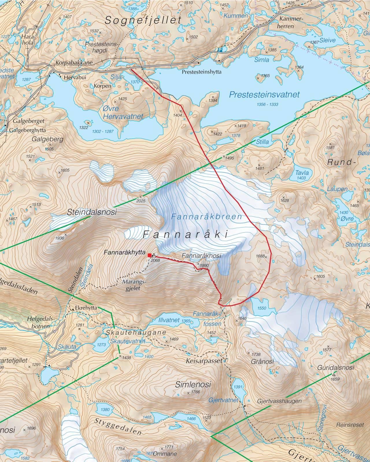 Kart over Fannaråki med inntegnet rute. Fra Trygge toppturer