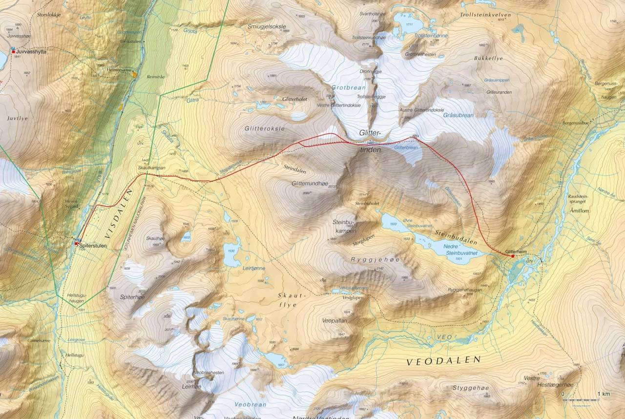 Kart over Høgruta i Jotunheimen dag 3 med inntegnet rute. Fra Høgruta i Jotunheimen.