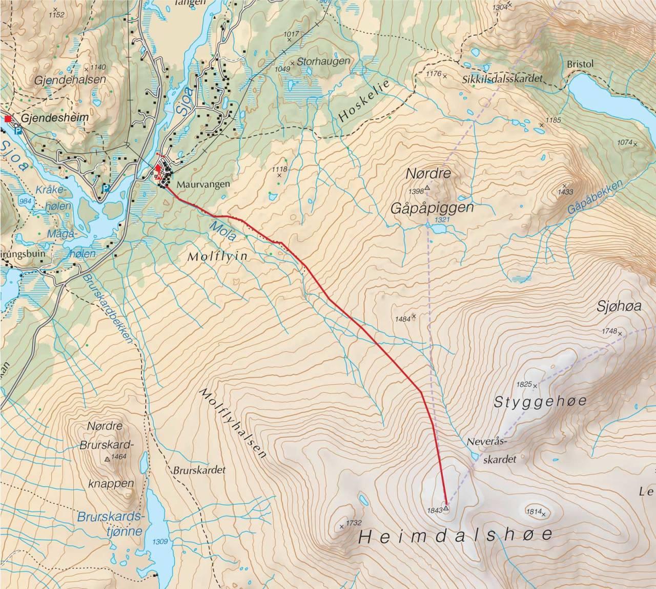 Kart over Heimdalshøe med inntegnet rute. Fra Trygge toppturer