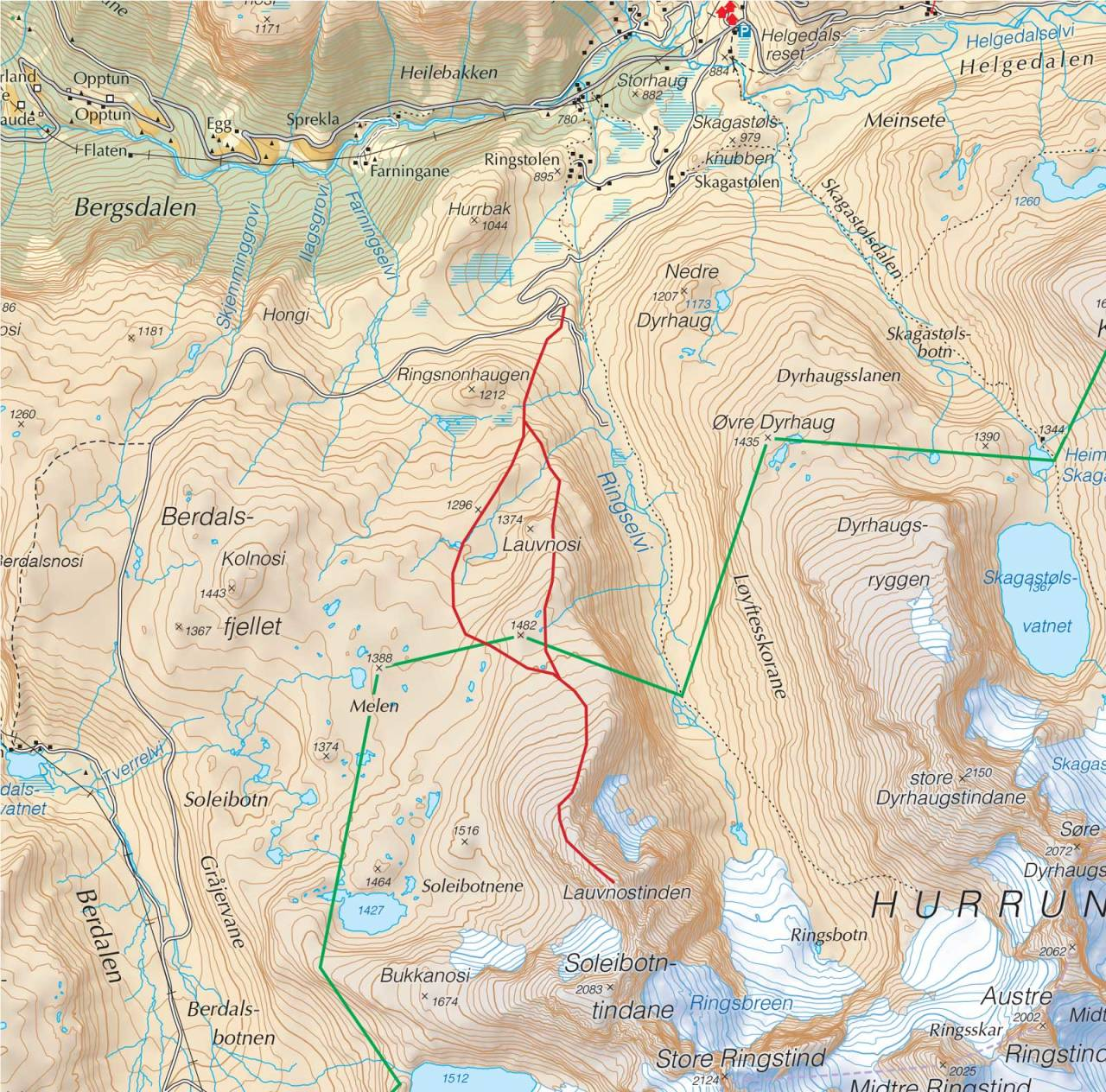 Kart over Lauvnostinden med inntegnet rute. Fra Trygge toppturer.