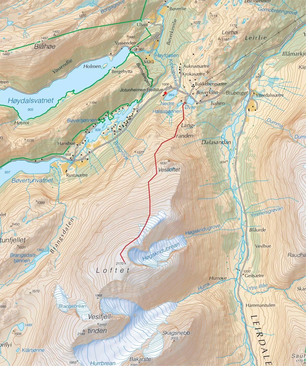 Kart over Loftet med inntegnet rute. Fra Trygge toppturer