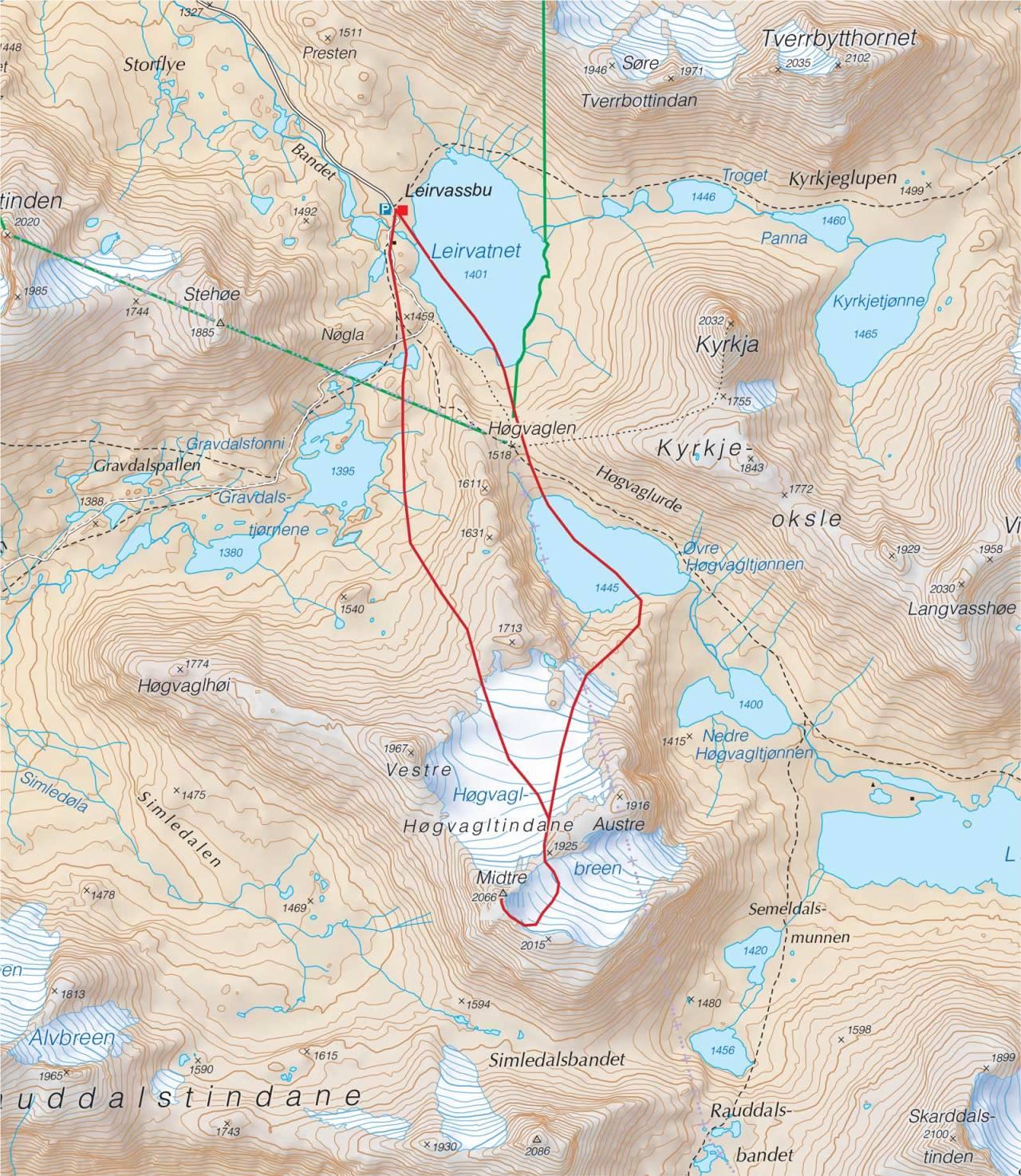 Kart over Midtre Høgvagltind med inntegnet rute. Fra Trygge toppturer