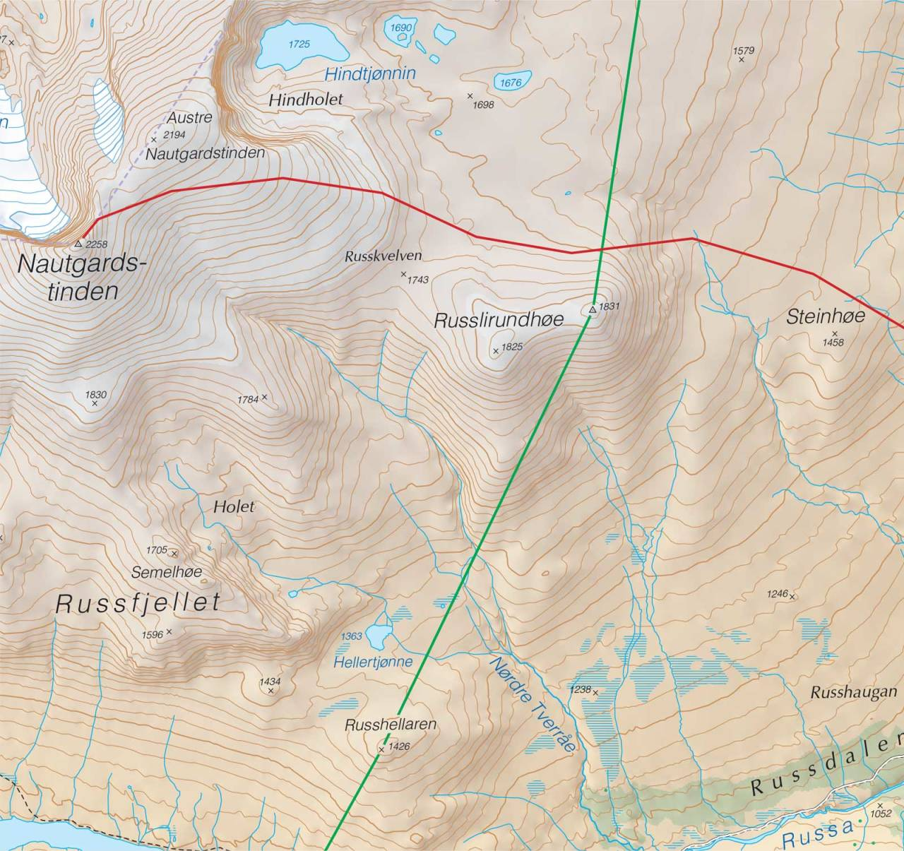 Kart over Nautgardstinden med inntegnet rute. Fra Trygge toppturer